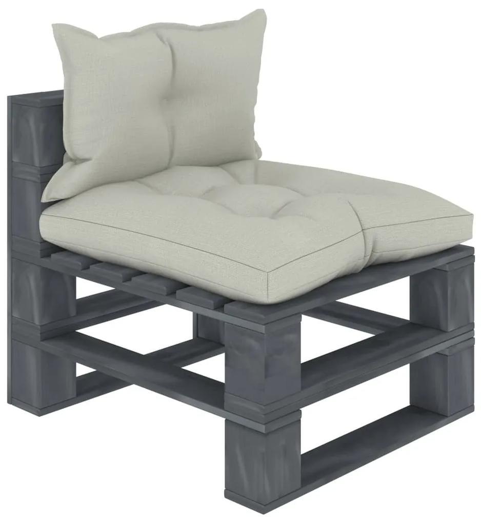 3052566 vidaXL Canapea de grădină de mijloc din paleți cu perne bej, lemn