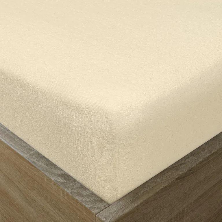 Goldea cearceafuri de pat din terry cu elastic - crem 180 x 200 cm
