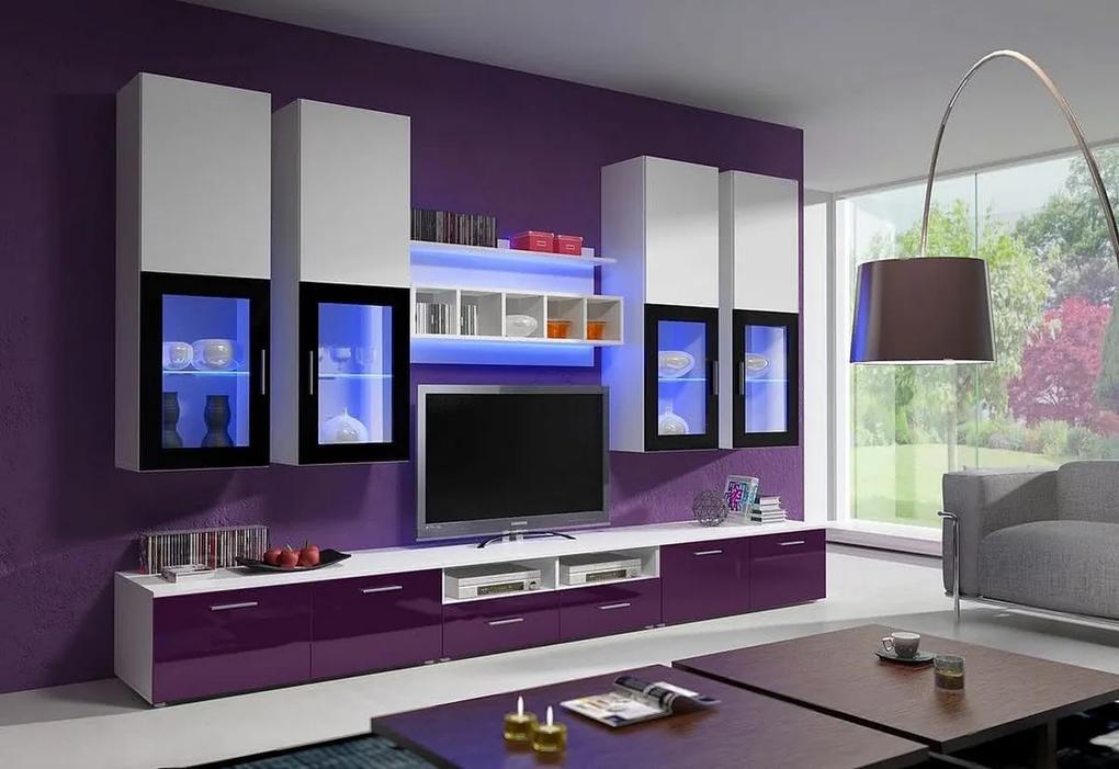 Expedo Mobilă sufragerie KANSAS I, alb/violet luciu