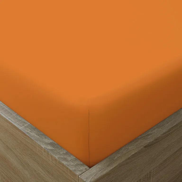 Goldea cearceafuri de pat din bumbac cu elastic - portocaliu 90 x 200 cm