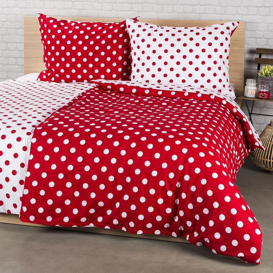 Lenjerie de pat 4Home din bumbac Buline roșii, potrivit pentru 2 persoane, 200 x 220 cm, 2 buc. 70 x 90 cm, 220 x 200 cm, 2 buc. 70 x 90 cm