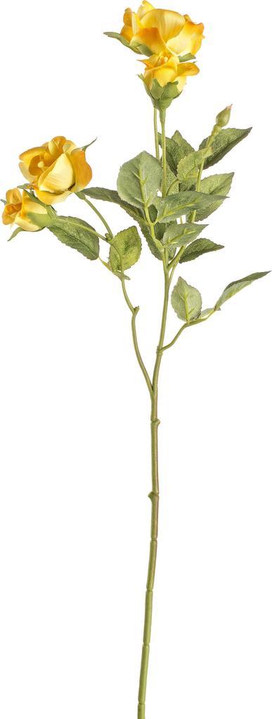 Trandafir artificial 4 flori galben 39h