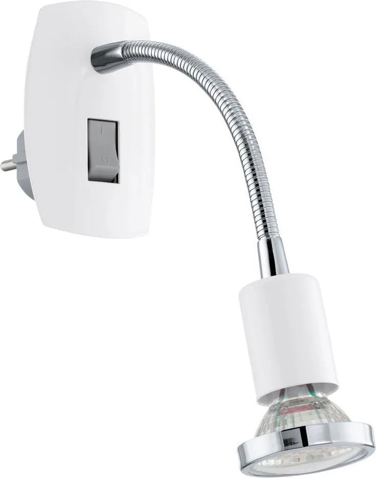 Spot priza MEREA, EGLO, 92934, GU10-LED, 3W, 240lm, lumina calda, otel, alb, crom, 22 x 18 x 7 cm, brat flexibil, IP20, A+