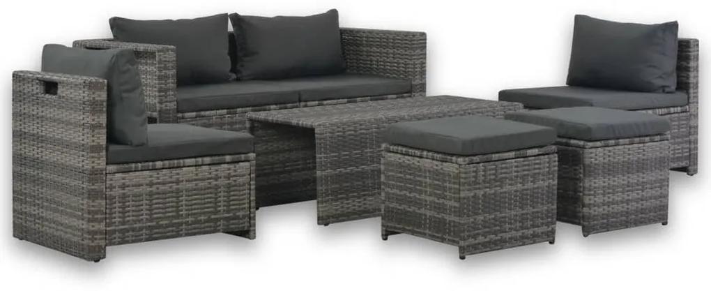44722 vidaXL Set mobilier de grădină cu perne, 6 piese, gri, poliratan