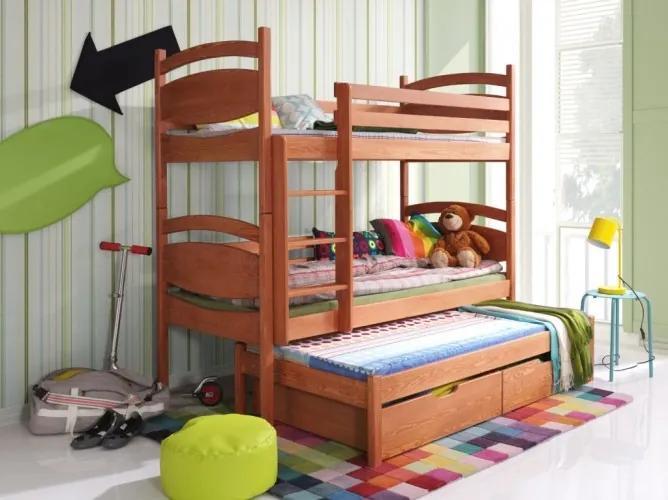Pat supraetajat din lemn de pin, cu 2 sertare si 3 locuri, pentru copii Cezary, 200 x 90 cm