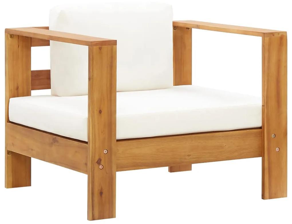 47272 vidaXL Fotoliu de grădină cu pernă, crem, lemn masiv de acacia
