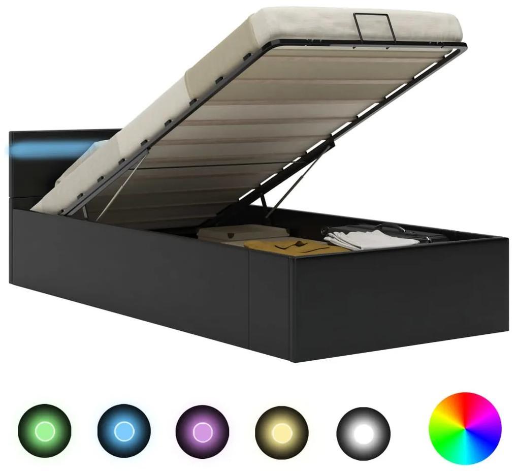 285541 vidaXL Cadru pat hidraulic ladă & LED negru 100x200 cm piele ecologică