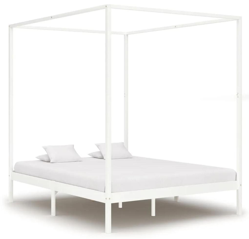 283267 vidaXL Cadru pat cu baldachin, alb, 180 x 200 cm, lemn masiv de pin