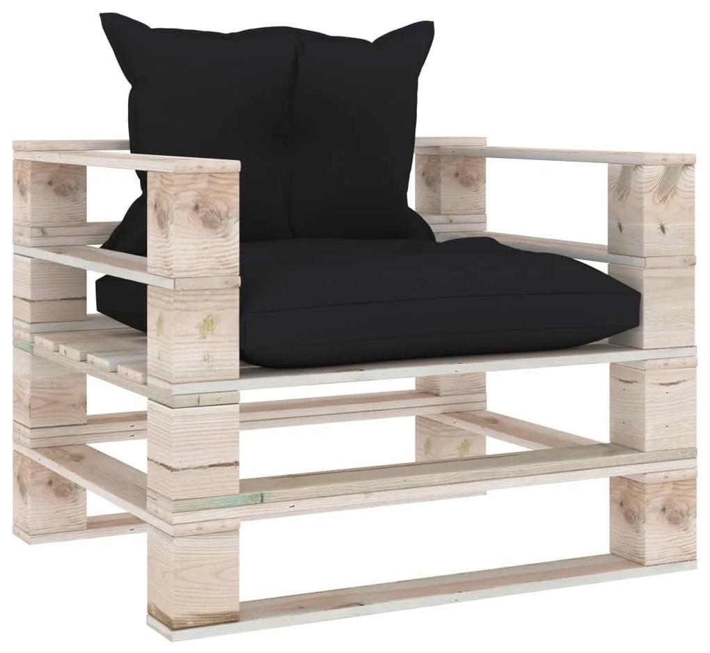 3066039 vidaXL Canapea grădină din paleți, cu perne negre, lemn de pin