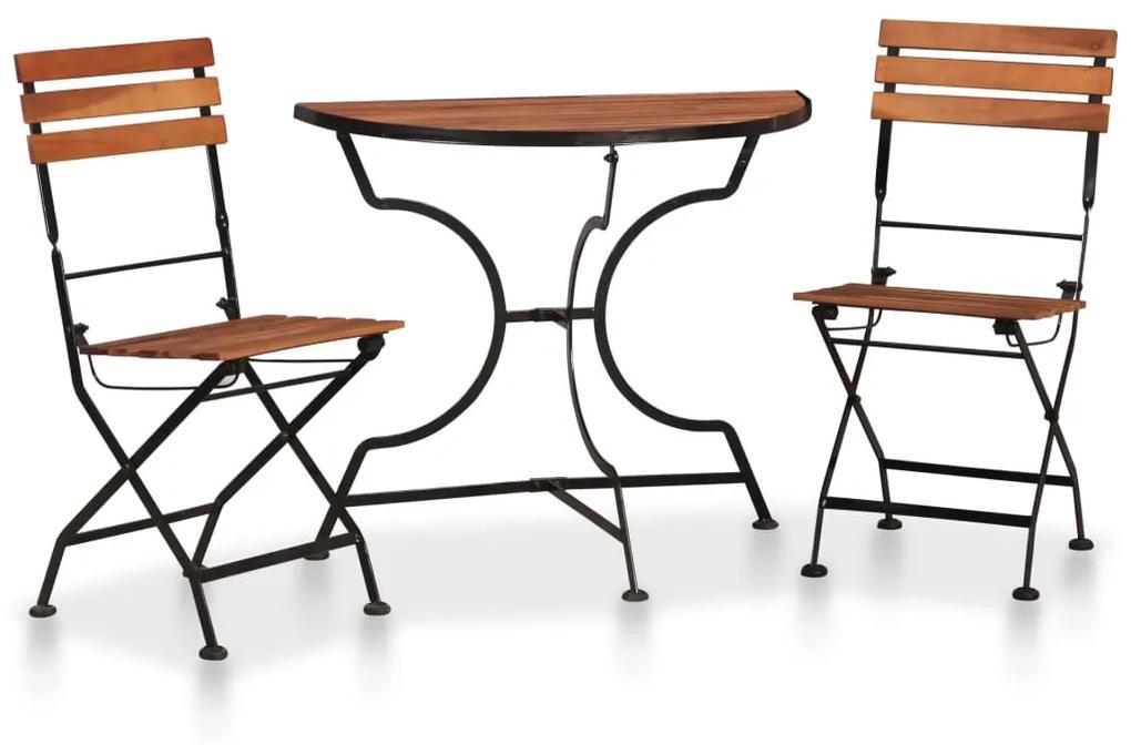 44392 vidaXL Set mobilier bistro, 3 piese, lemn masiv de acacia