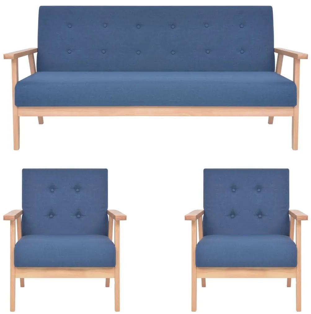 279146 vidaXL Set de canapele, 3 piese, albastru, material textil