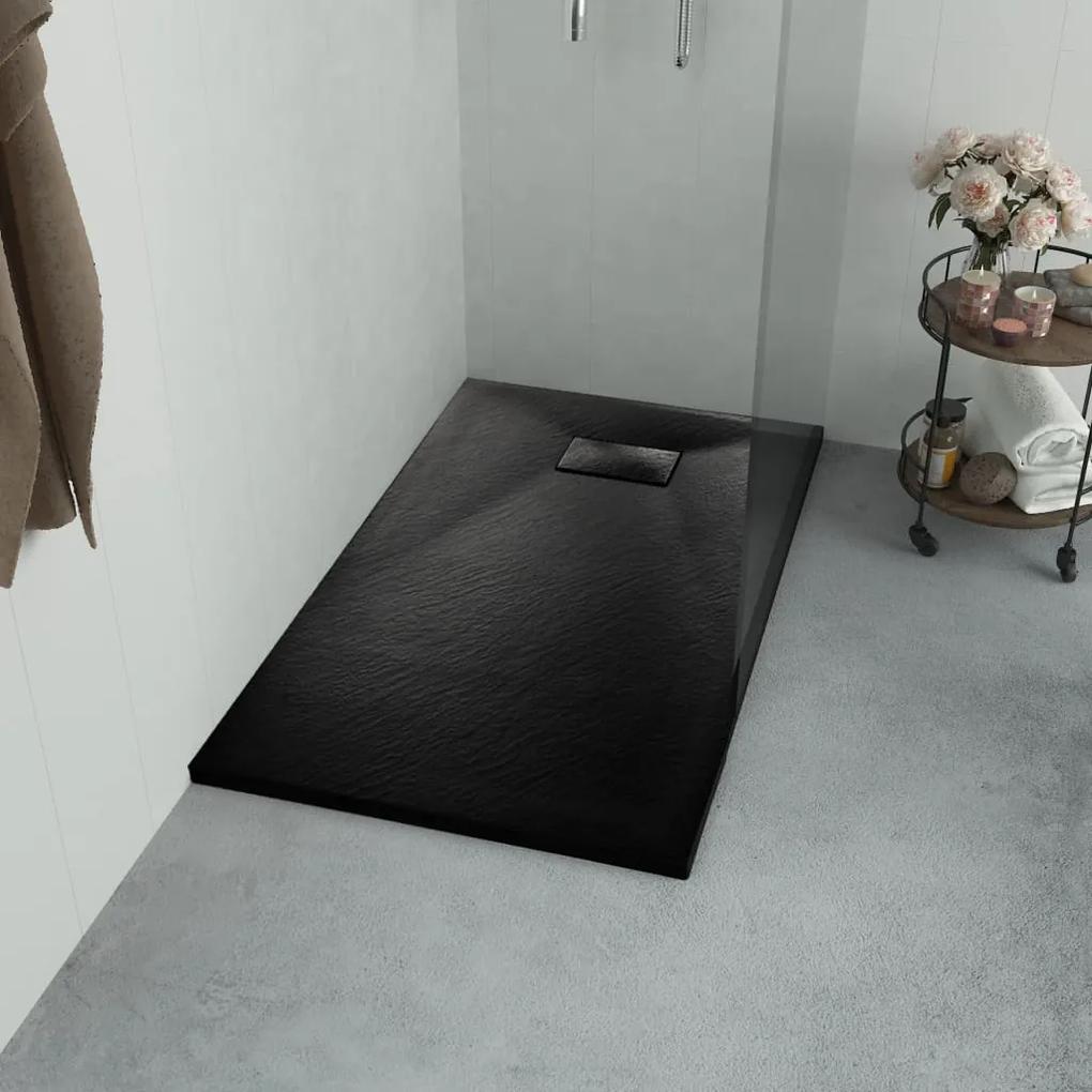144781 vidaXL Cădiță de duș, negru, 100 x 80 cm, SMC