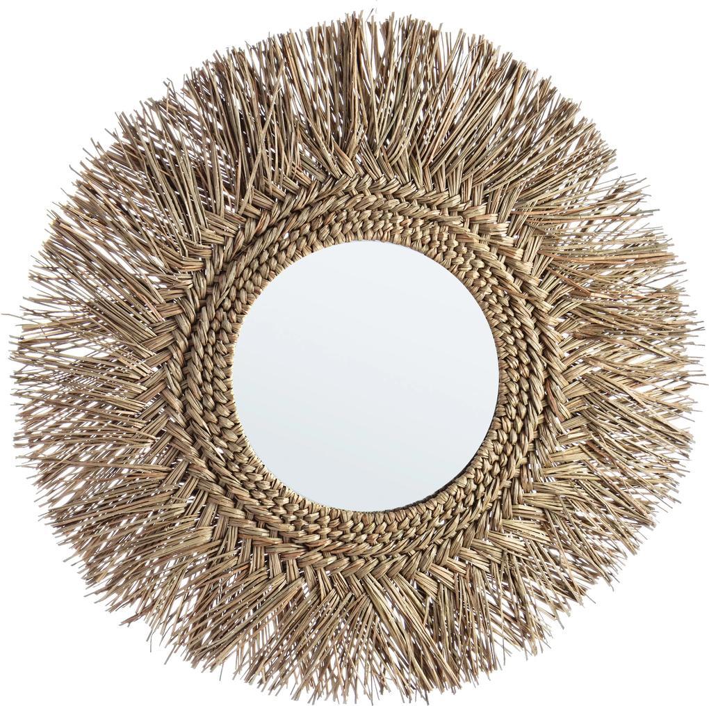 Oglinda decorativa de perete cu rama bambus natur Ilusion 73 cm x 2 cm