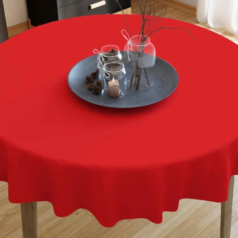 Goldea față de masă din bumbac roșu - rotundă Ø 60 cm