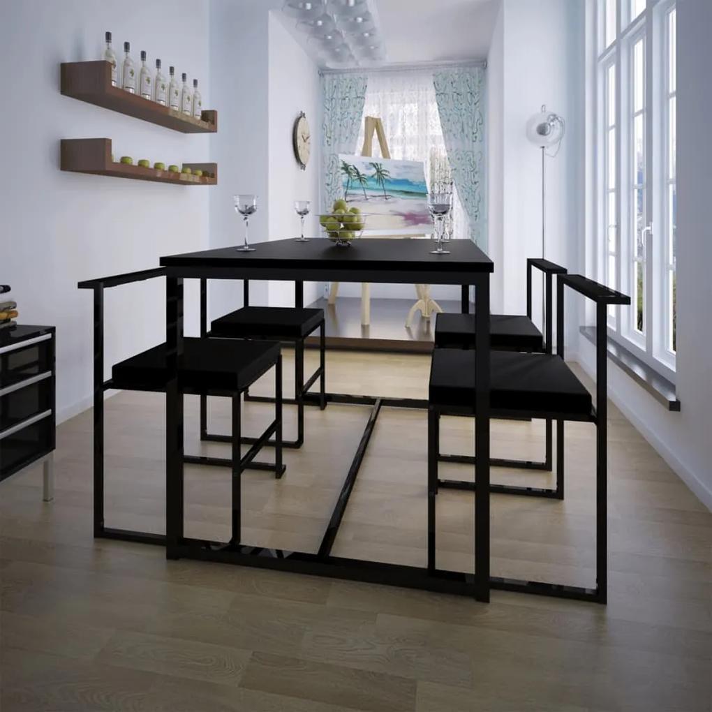 244269 vidaXL Set masă și scaune de bucătărie, negru, 5 piese