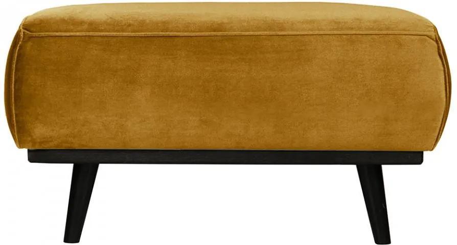 Taburet pentru picioare galben miere/negru din catifea si lemn 55x80 cm Statement