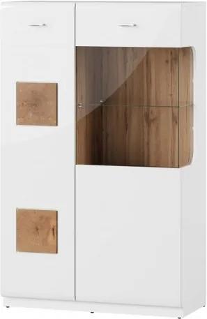 Vitrina din pal cu 2 usi Wood 15 Small Alb / Stejar Wotan, l89xA40xH145 cm