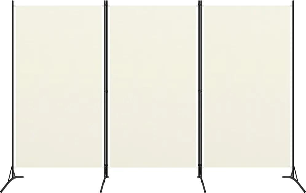 Paravan de camera cu 3 panouri, alb crem, 260 x 180 cm