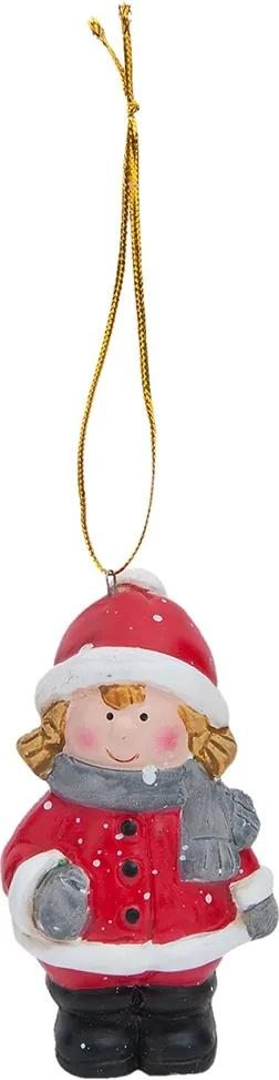 Ornament brad ceramica rosu gri Fetita 5x8 cm