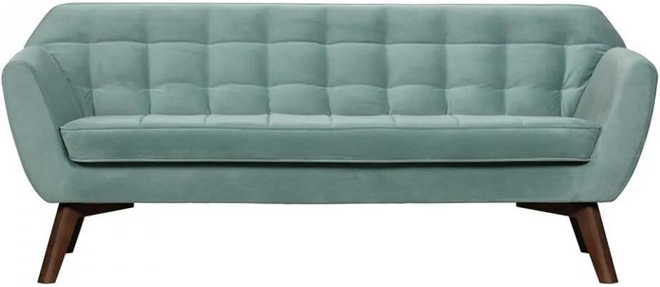 Canapea albastru deschis din catifea si lemn de mesteacan 187 cm Roxy