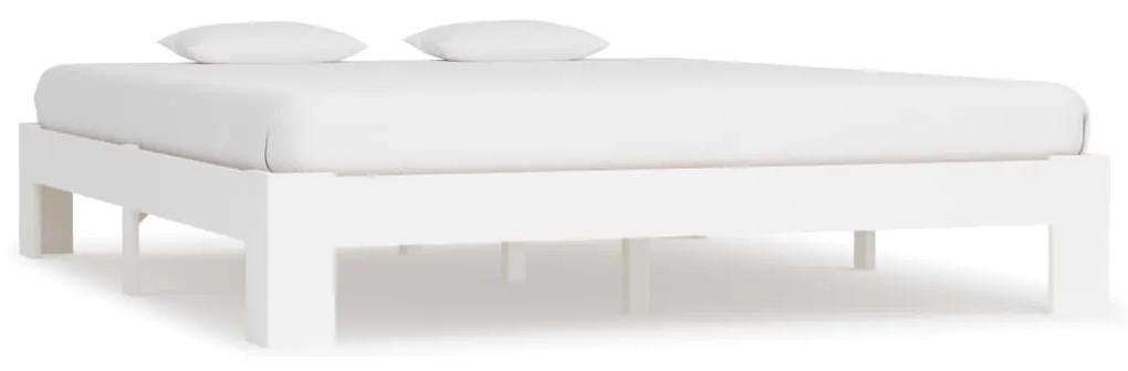 283297 vidaXL Cadru de pat, alb, 180 x 200 cm, lemn masiv de pin
