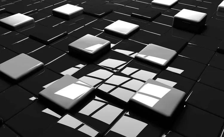 Modern Abstract Squares Black White Fototapet, (312 x 219 cm)