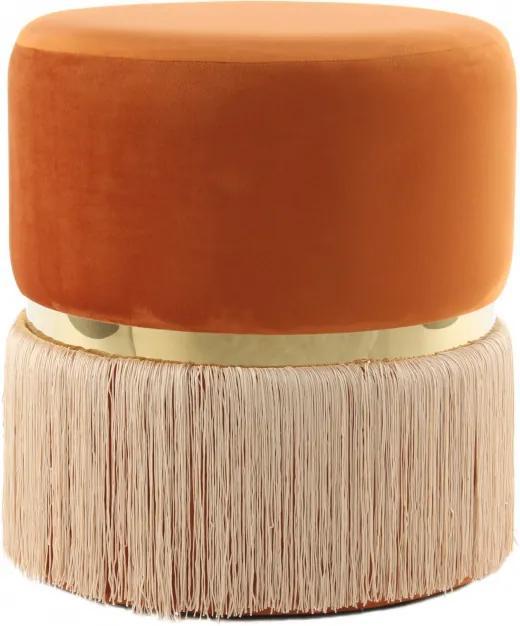 Puf/ Taburet tapitat cu franjuri Rebecca portocaliu/ auriu