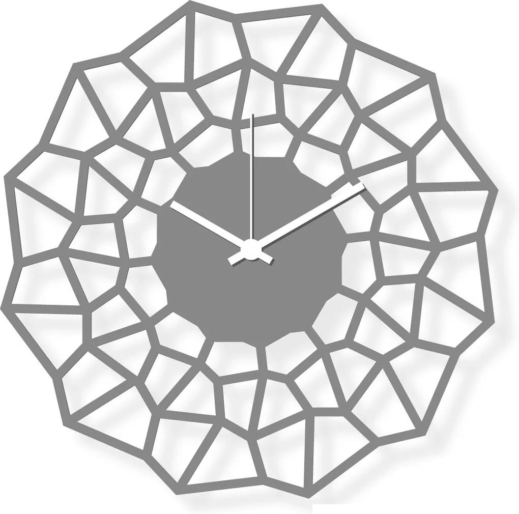 Ceas de perete de dimensiuni medii, sticlă acrilică gri 30x30 cm - Flake | DSGN