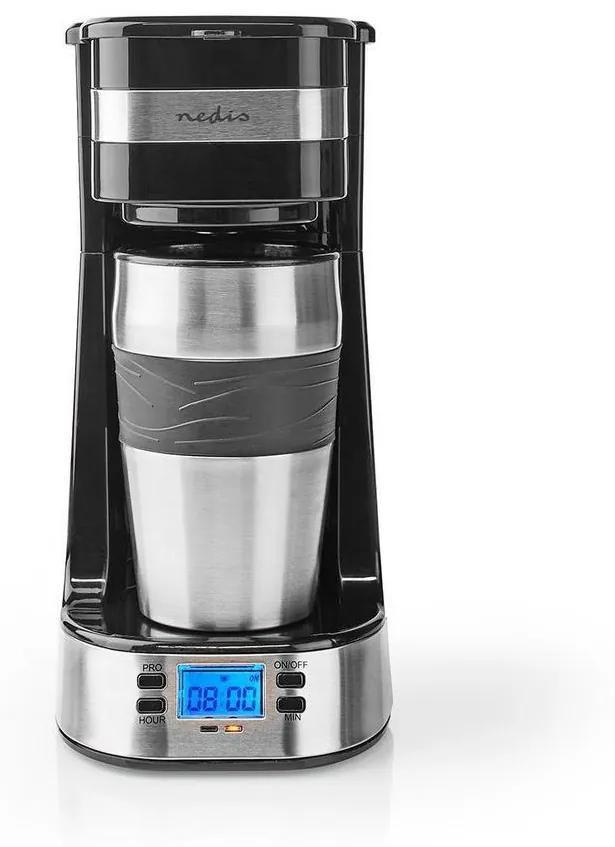 Nedis KACM310FBK - Aparat de cafea pentru o cană 0,42 L cu cronometru și cană de călătorie