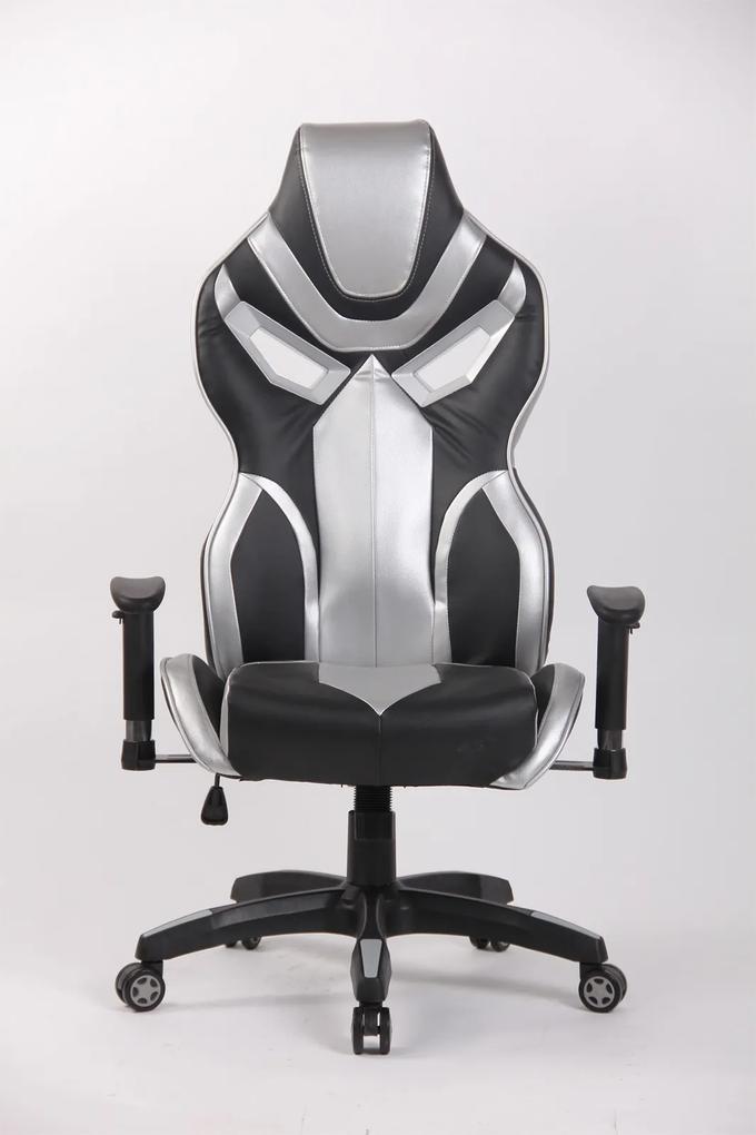 Scaun gaming Genator V8, piele ecologica, Negru/Gri