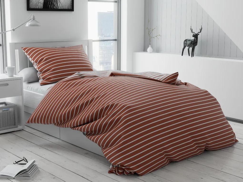 Lenjerie de pat bumbac Caprivi maro Tip plic hotel Dimensiune lenjerie de pat: 70x90 cm, 140x200 cm