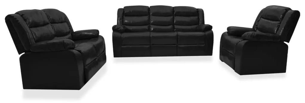 3055333 vidaXL Set canapea rabatabilă, 3 piese, negru, piele ecologică