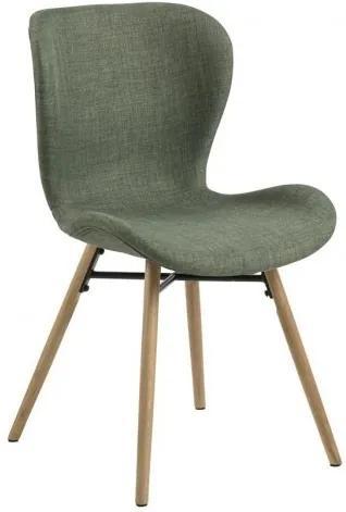 Scaun tapitat cu stofa si picioare din lemn Batilda A-1 Verde / Stejar, l47xA53xH82,5 cm