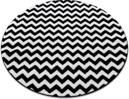 Covor Sketch rotund - F561 negru și alb - Zig Zag cerc 100 cm