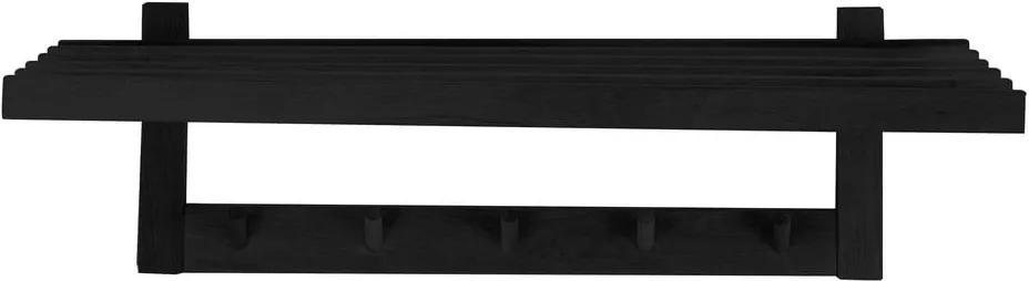 Cuier din lemn de stejar Canett Uno, lățime 80 cm, negru