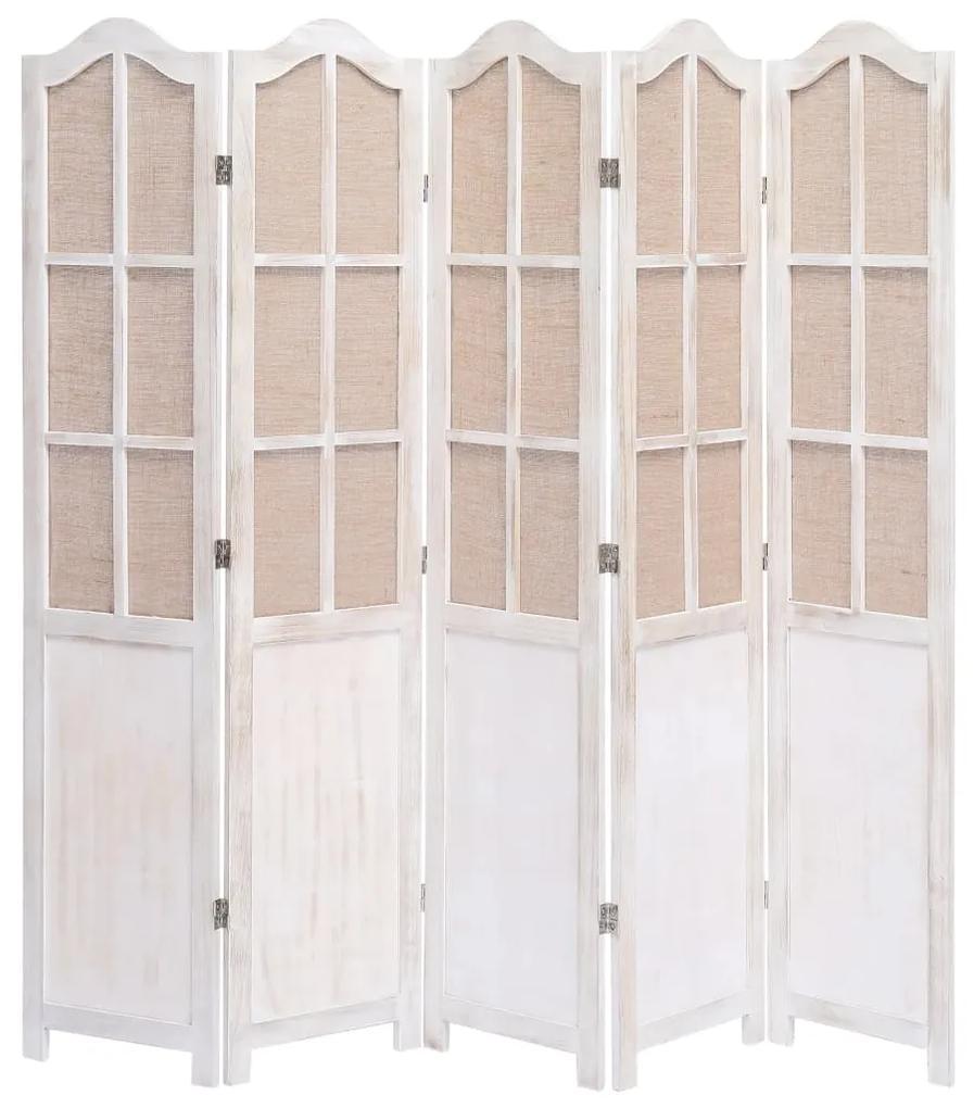 284221 vidaXL Paravan de cameră cu 5 panouri, alb, 175 x 165 cm, textil