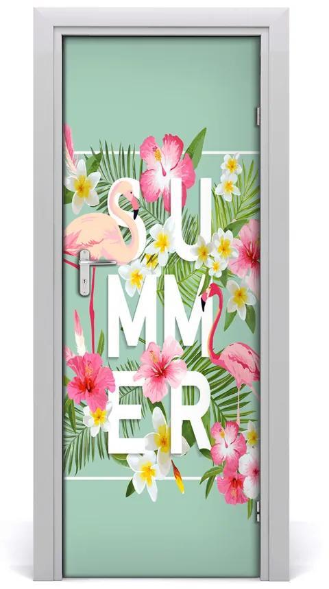 Autocolante pentru usi Sărbătorile și flamingo