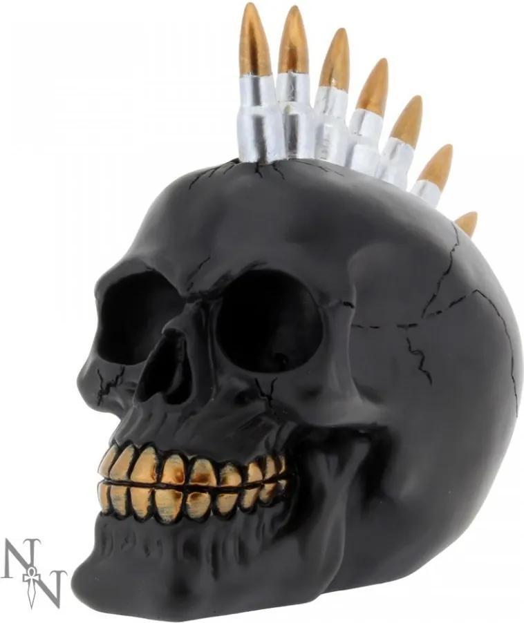 Statueta craniu negru Gloante 19 cm