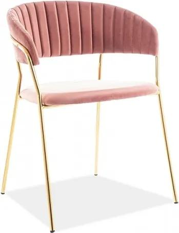 Scaun tapitat cu stofa si picioare metalice Lira Velvet Roz / Auriu, l56xA50xH78 cm