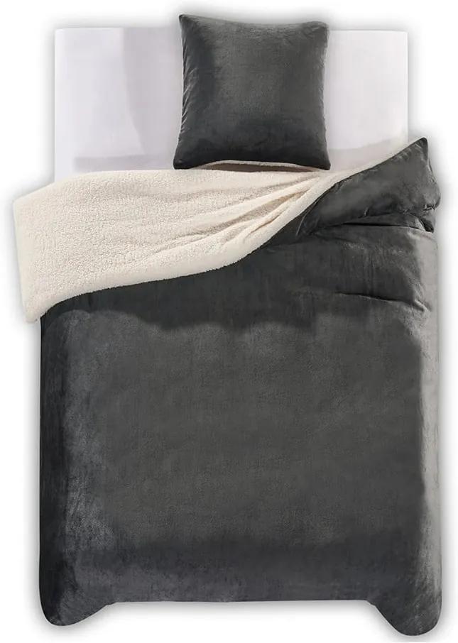 Lenjerie de pat din microfibră DecoKing Teddy, 200 x 200 cm, gri închis