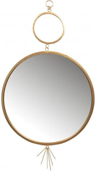 Oglinda rotunda cu rama din fier antique brass Tail, 94x51x2 cm