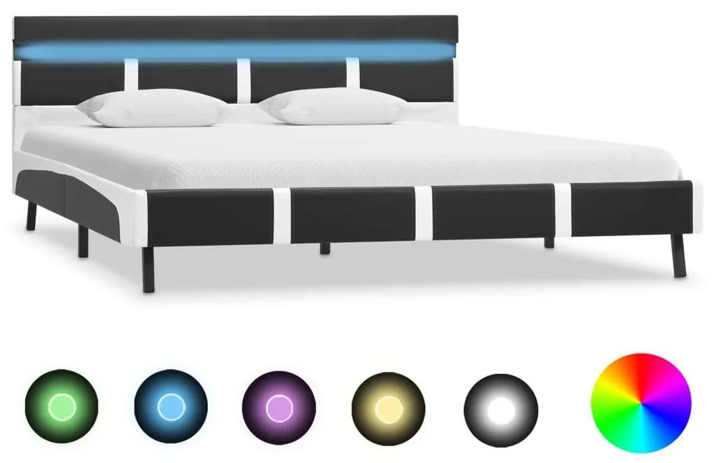 280308 vidaXL Cadru de pat cu LED, gri, 120 x 200 cm, piele ecologică