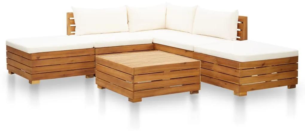 46679 vidaXL Set mobilier grădină cu perne, 6 piese, alb crem, lemn acacia