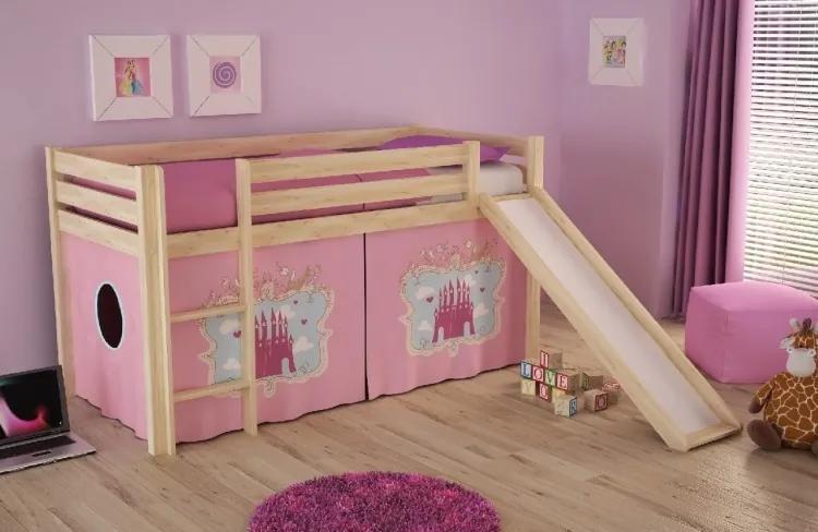Pat etajat din lemn de pin, cu tobogan pentru copii Pino Castle Natural, 200 x 90 cm