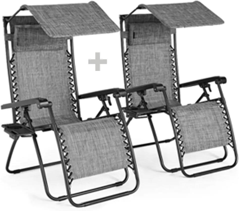 Set de 2 scaune reglabile de grădină, gri, KASPIAN