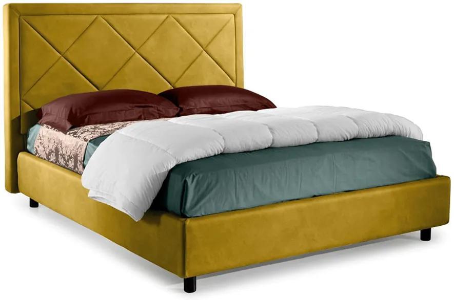 Pat Dormitor Matrimonial Bed&Sofa Venezia iSomn 160x200 cm, lada de depozitare, stofa, galben