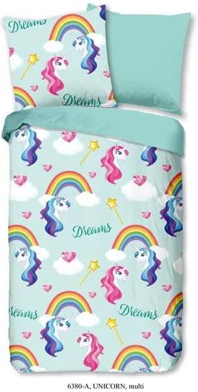Lenjerie de pat din bumbac pentru copii Good Morning Unicorn, 140 x 200 cm, albastru