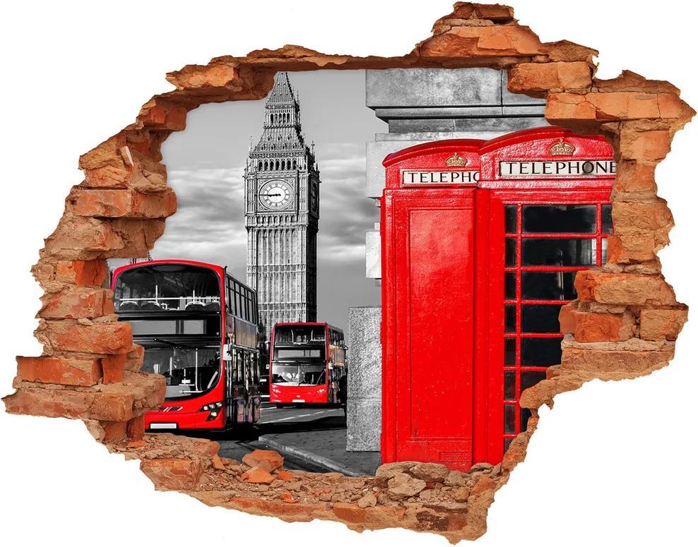Autocolant un zid spart cu priveliște Autobuze roșii