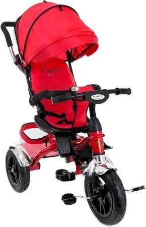 Tricicleta Carucior pentru copii cu scaun rotativ, copertina, cos, maner parental, suport picioare pliabil, culoare rosu