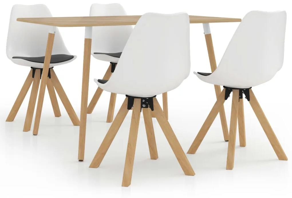 3057335 vidaXL Set mobilier de bucătărie, 5 piese, alb și negru